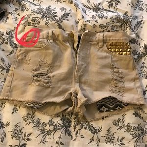 6. F21 Tan studded pocket high rise size 30